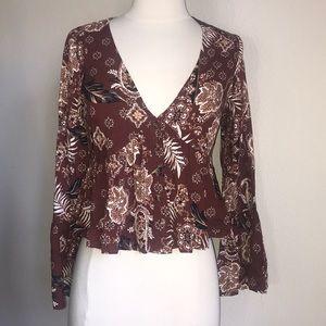 Ivy & Main brown paisley boho bell sleeve top S cr